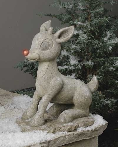 "Rudolph the Reindeer Christmas Statue - 18.5""H - Stone"