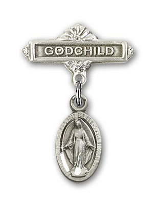 Baby Badge with Blue Miraculous Charm and Godchild Badge Pin - Silver tone