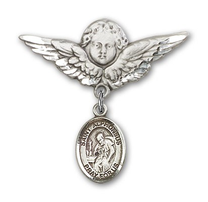 Pin Badge with St. Alphonsus Charm and Angel with Larger Wings Badge Pin - Silver tone