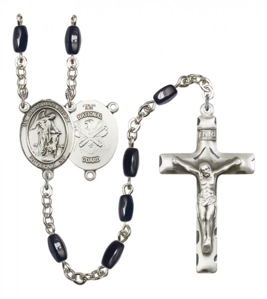 Men's Guardian Angel National Guard Silver Plated Rosary - Black | Silver