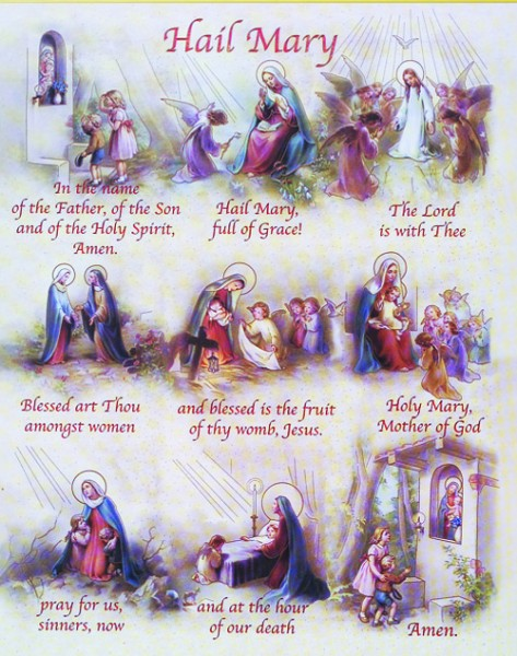 Hail Mary Prayer Print - Sold in 3 per pack - Multi-Color