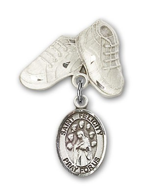 Pin Badge with St. Felicity Charm and Baby Boots Pin - Silver tone