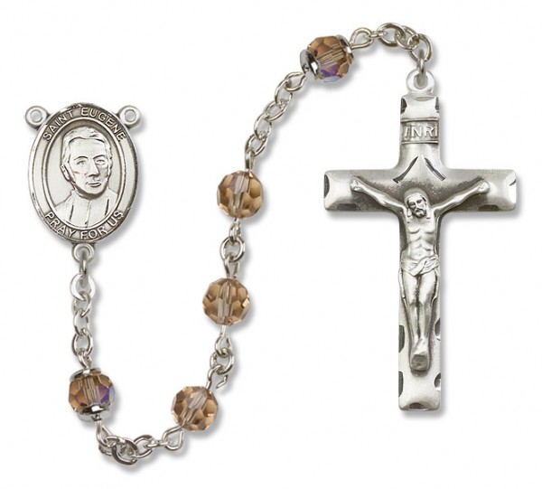 St. Eugene de Mazenod Sterling Silver Heirloom Rosary Squared Crucifix - Topaz