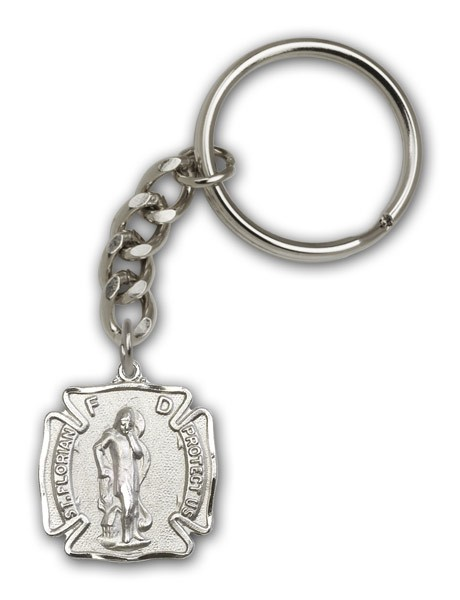 St. Florian Shield Keychain - Antique Silver