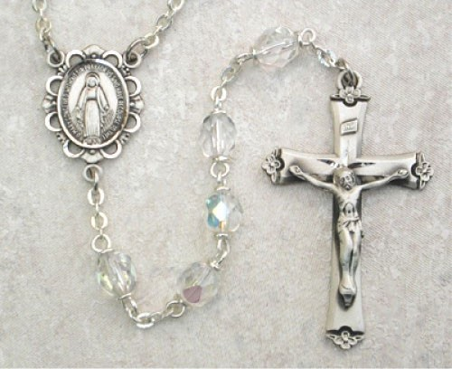 April Birthstone Rosary (Crystal) - Sterling Silver - Crystal