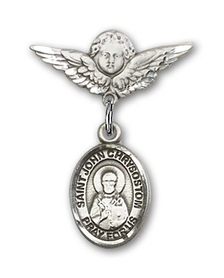 Pin Badge with St. John Chrysostom Charm and Angel with Smaller Wings Badge Pin - Silver tone