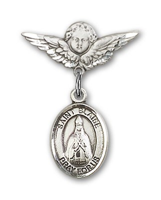 Pin Badge with St. Blaise Charm and Angel with Smaller Wings Badge Pin - Silver tone