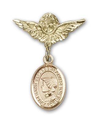 Pin Badge with St. Elizabeth Ann Seton Charm and Angel with Smaller Wings Badge Pin - 14K Solid Gold
