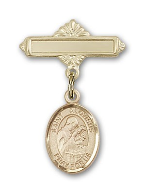 Pin Badge with St. Aloysius Gonzaga Charm and Polished Engravable Badge Pin - Gold Tone