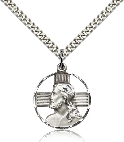 Head of Christ Pendant - Sterling Silver