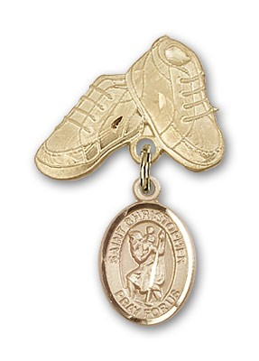 Pin Badge with St. Christopher Charm and Baby Boots Pin - 14K Yellow Gold