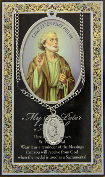 St. Peter Medal in Pewter with Bi-Fold Prayer Card - Silver tone