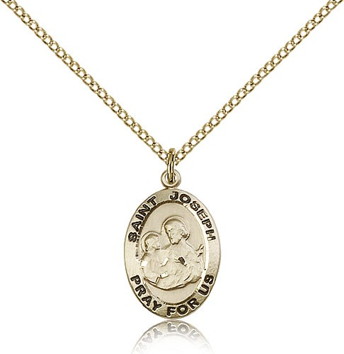 Women's Small Oval St. Joseph Medal - 14KT Gold Filled