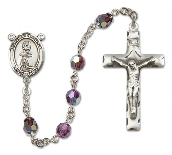 St. Anastasia Rosary Heirloom Squared Crucifix - Amethyst