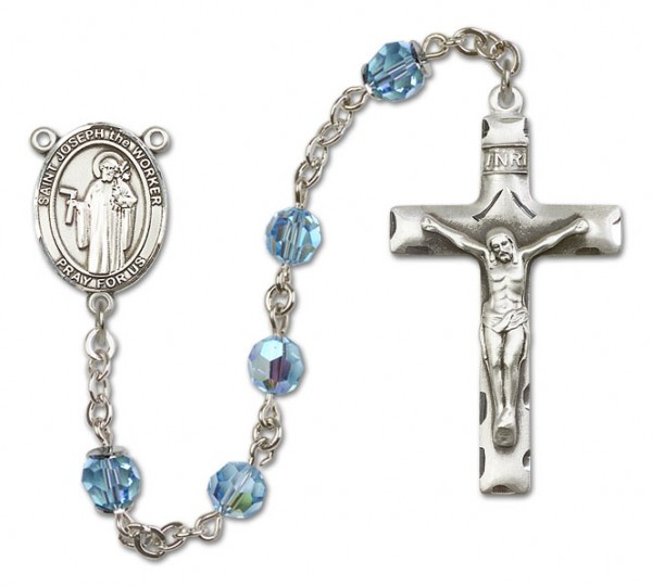 St. Joseph the Worker Sterling Silver Heirloom Rosary Squared Crucifix - Aqua