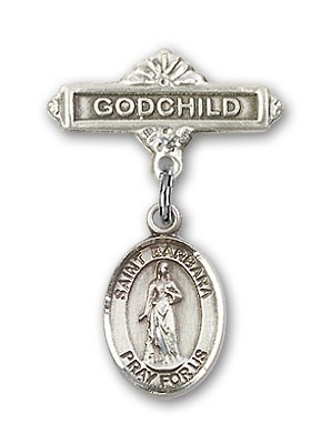 Pin Badge with St. Barbara Charm and Godchild Badge Pin - Silver tone