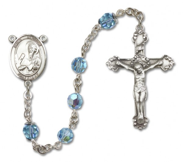 St. Andrew the Apostle Sterling Silver Heirloom Rosary Fancy Crucifix - Aqua