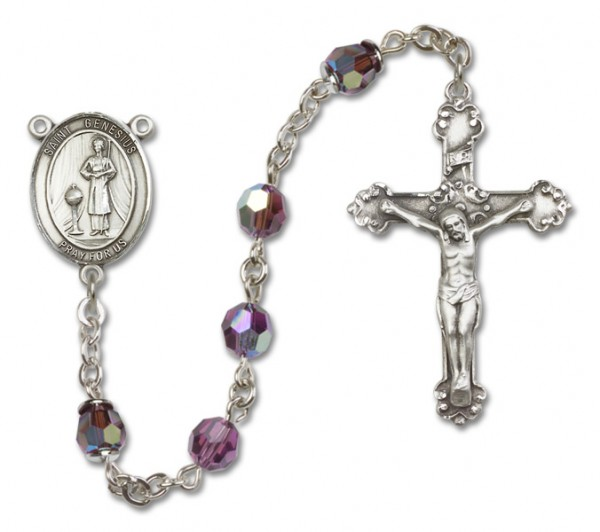 St. Genesius of Rome Sterling Silver Heirloom Rosary Fancy Crucifix - Amethyst