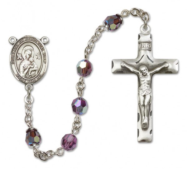 Our Lady of Perpetual Help Sterling Silver Heirloom Rosary Squared Crucifix - Amethyst