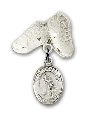 Pin Badge with St. Joan of Arc Charm and Baby Boots Pin - Silver tone