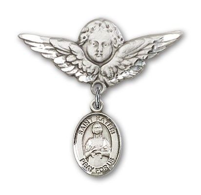 Pin Badge with St. Kateri Charm and Angel with Larger Wings Badge Pin - Silver tone