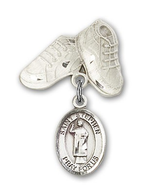 Pin Badge with St. Stephen the Martyr Charm and Baby Boots Pin - Silver tone