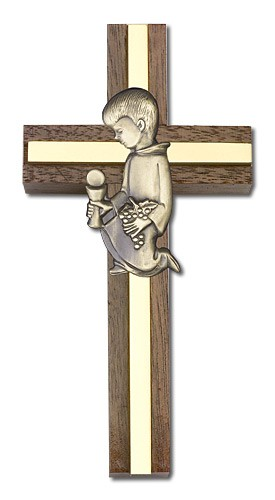 First Communion Boy Wall Cross in Walnut and Metal Inlay 4 inch - Gold Tone