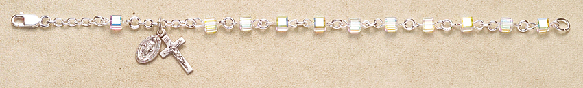 Rosary Bracelet - Sterling Silver with Crystal Swarovski Cube - Crystal