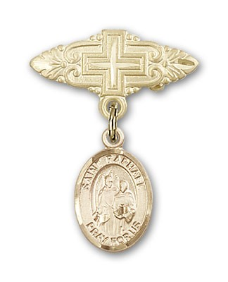 Pin Badge with St. Raphael the Archangel Charm and Badge Pin with Cross - 14K Yellow Gold