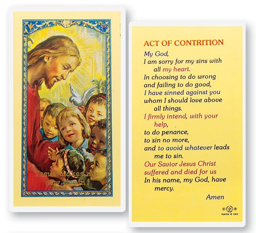 Act of Contrition Christ Kids Laminated Prayer Cards 25 Pack - Full Color