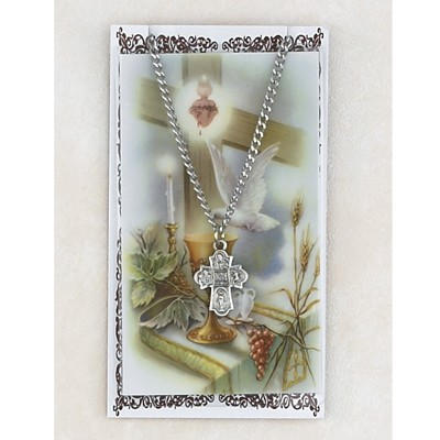 Four Way Pewter Pendant with Confirmation Prayer Card - Silver