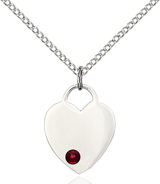 Small Heart Shaped Pendant with Birthstone Options - Garnet