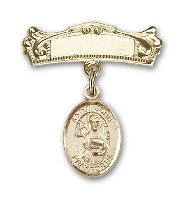Pin Badge with St. John the Apostle Charm and Arched Polished Engravable Badge Pin - Gold Tone