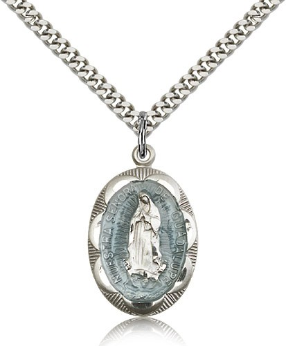 Our Lady of Guadalupe Medal - Silver | Blue