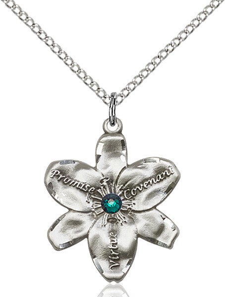 Large Five Petal Chastity Pendant with Birthstone Center - Emerald Green