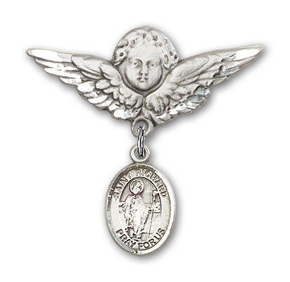 Pin Badge with St. Richard Charm and Angel with Larger Wings Badge Pin - Silver tone