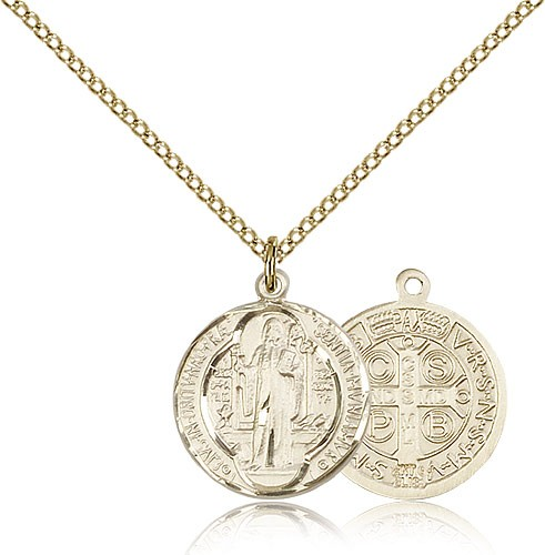 Round St. Benedict Medallion - 3 sizes available - 14KT Gold Filled