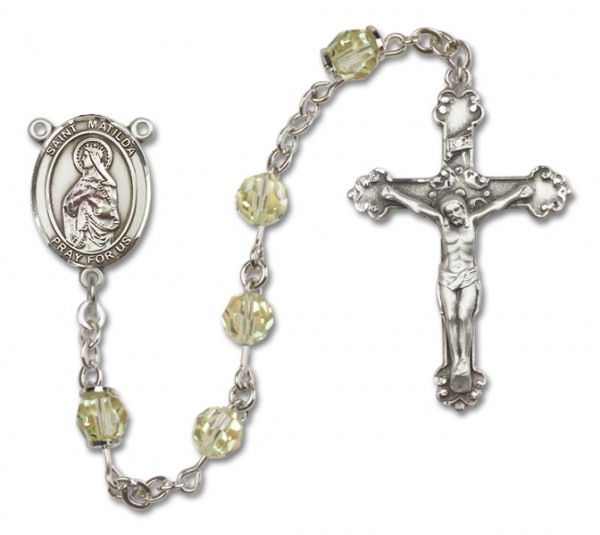 St. Matilda Sterling Silver Heirloom Rosary Fancy Crucifix - Jonquil