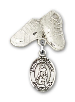 Pin Badge with St. Peregrine Laziosi Charm and Baby Boots Pin - Silver tone