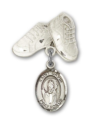 Pin Badge with St. David of Wales Charm and Baby Boots Pin - Silver tone
