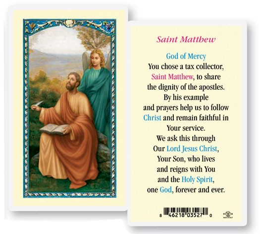Saint Matthew Laminated Prayer Cards 25 Pack - Full Color