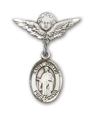 Pin Badge with St. Justin Charm and Angel with Smaller Wings Badge Pin - Silver tone