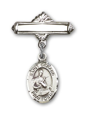 Pin Badge with St. Gerard Charm and Polished Engravable Badge Pin - Silver tone