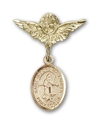 Pin Badge with St. Isidore the Farmer Charm and Angel with Smaller Wings Badge Pin - 14K Yellow Gold