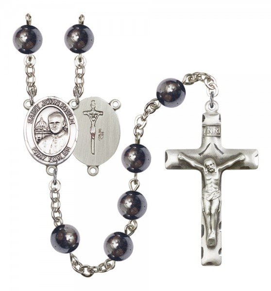 Men's St. John Paul II Silver Plated Rosary - Silver