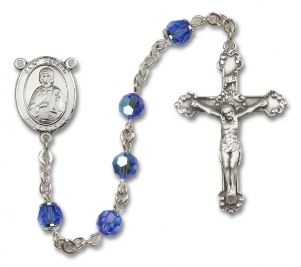 St. Gerard Sterling Silver Heirloom Rosary Fancy Crucifix - Sapphire