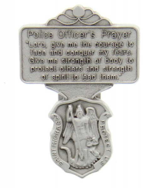 "St. Michael Police Officer Prayer Visor Clip, Pewter - 2 1/4""H - Silver"