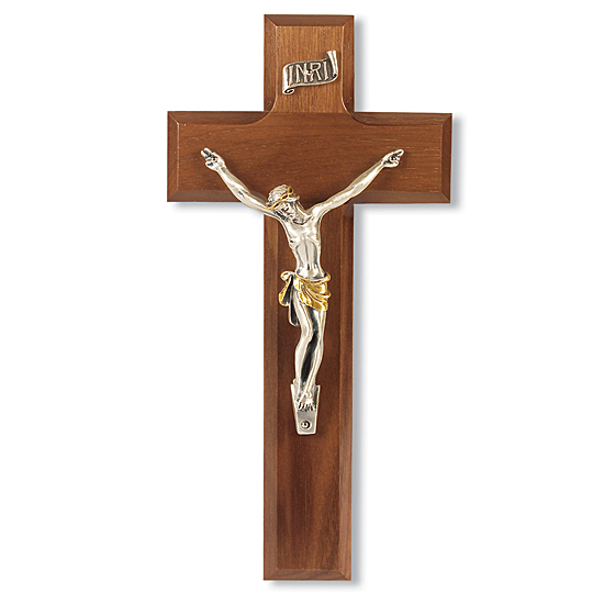 Walnut Wood Wall Crucifix with Contemporary Corpus - 8 inch - Brown