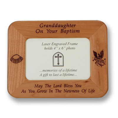 Maple Wood Granddaughter Baptism Photo Frame - Brown