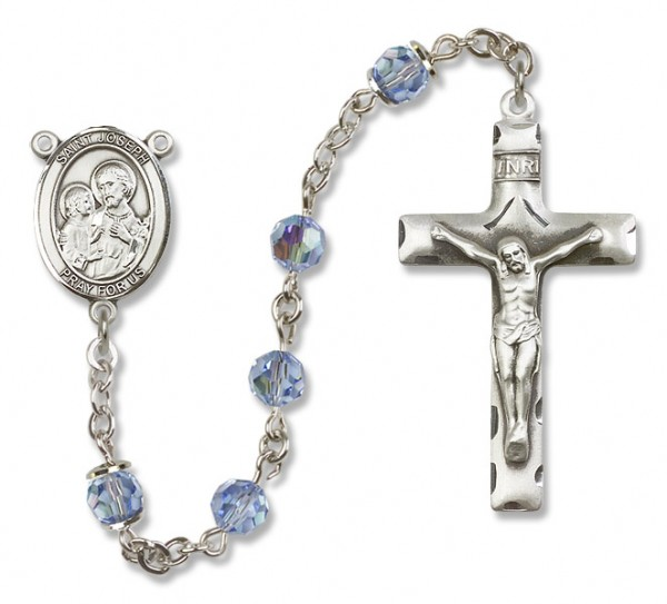 St. Joseph Sterling Silver Heirloom Rosary Squared Crucifix - Light Sapphire